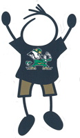 Notre Dame dad stick figure window decal