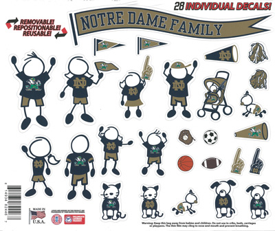 Notre Dame stick figure family decals