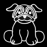 pug with wrinkles decal