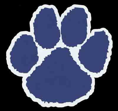 cougar paw blue and white decal